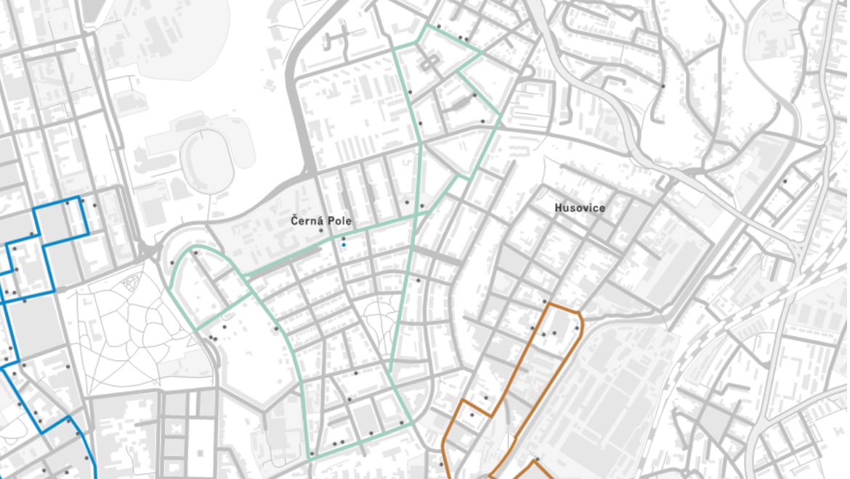 Stezka BAM Černá pole je na mapce vyznačené zeleně