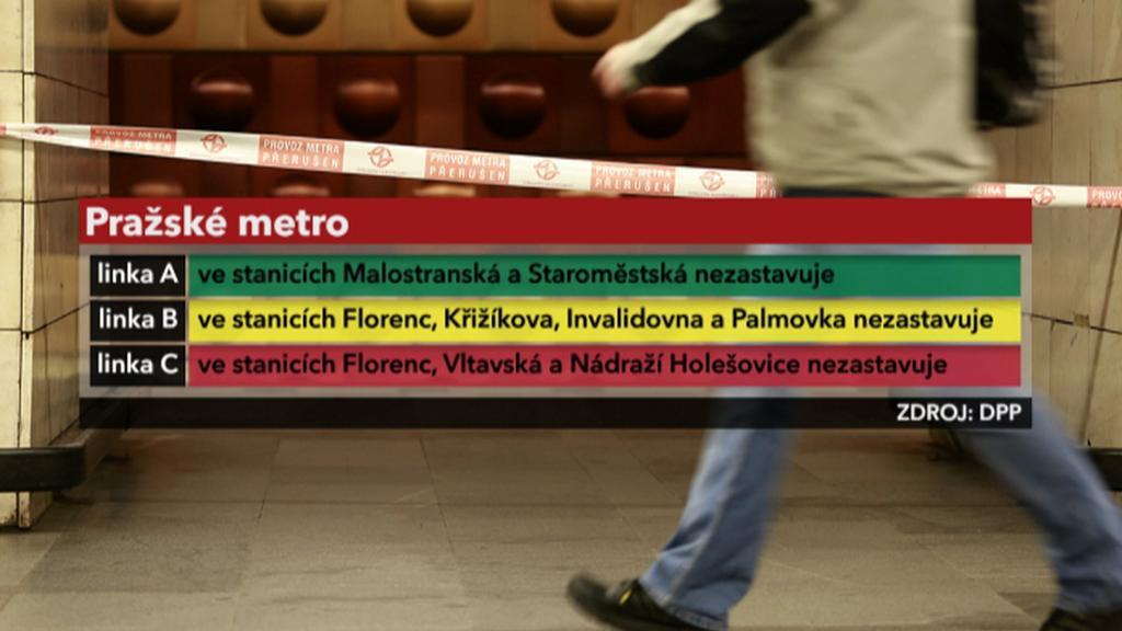 Provoz metra dne 7. 6. 2013