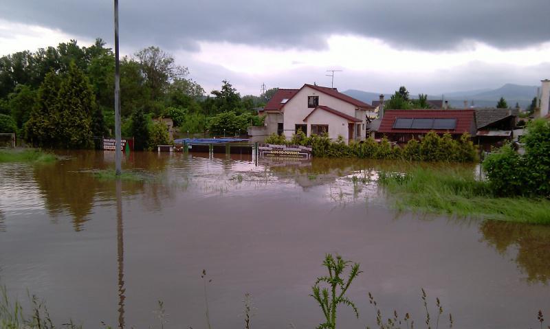 Zaplavené domy v Terezíně