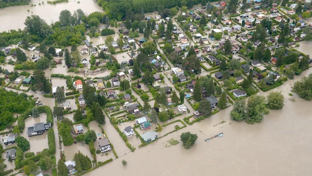 Povodně v Dolních Rakousích nedaleko Vídně