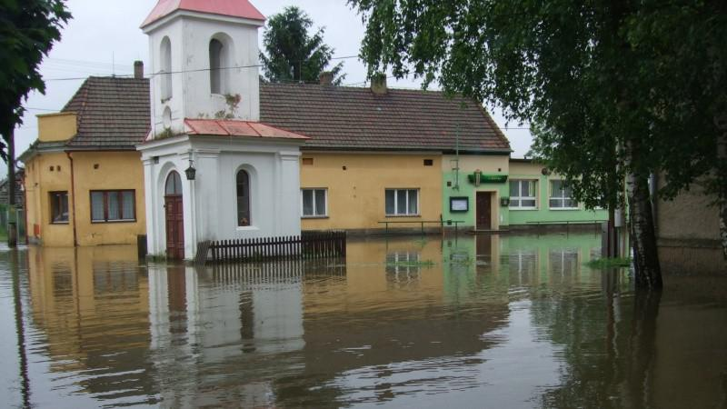 Zaplavená obec Kly