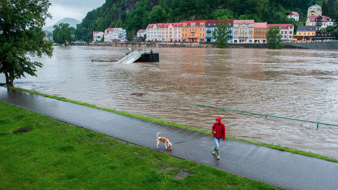 Povodňová situace 3. června odpoledne v Děčíně