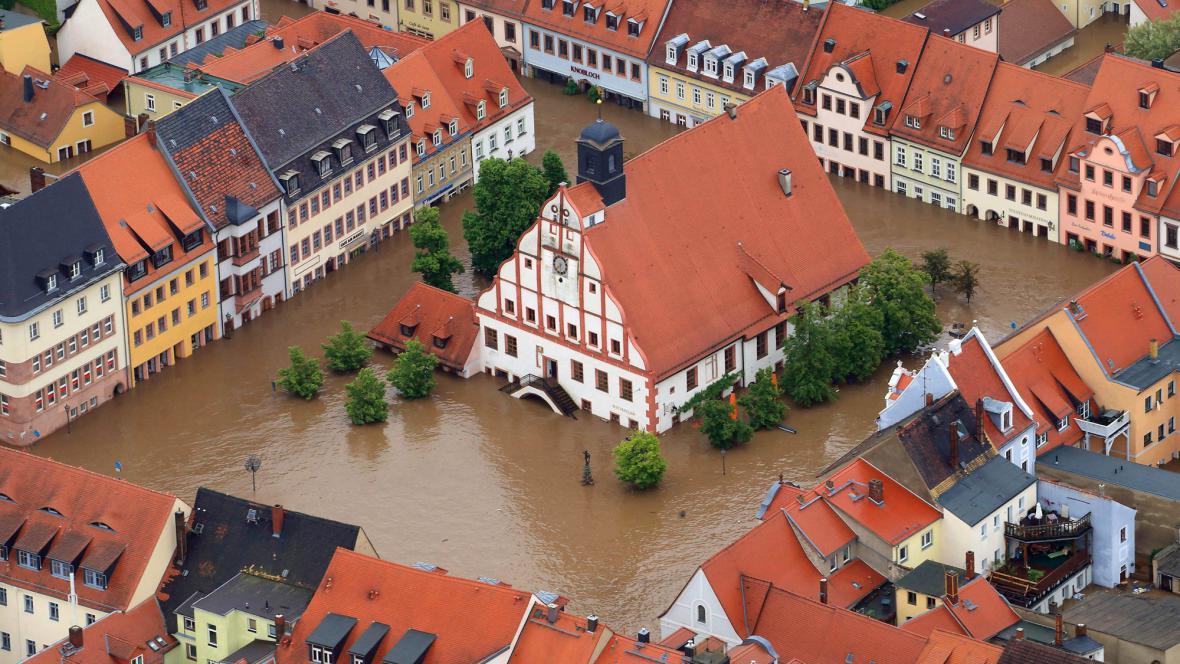 Zaplavené německé město Grimma