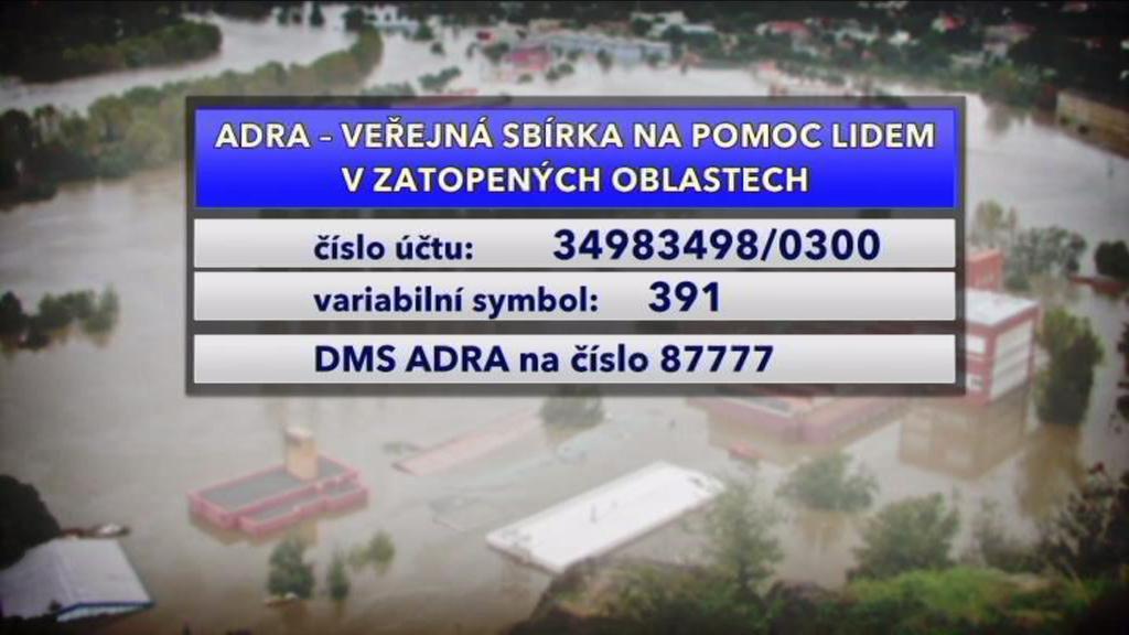 Veřejná sbírka na pomoc lidem v zatopených oblastech