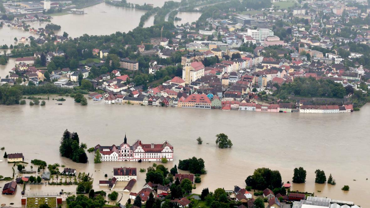Záplavy v rakouském Schärdingu