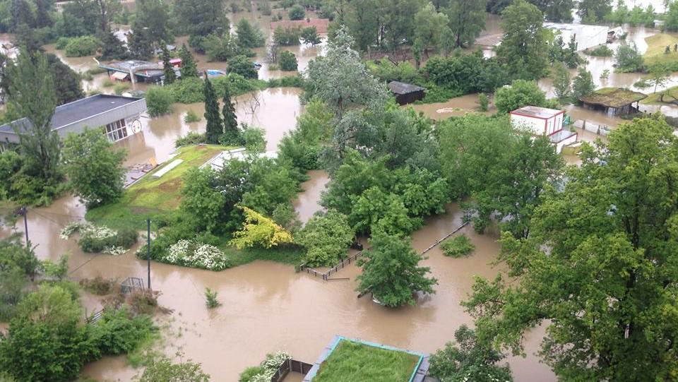 Zaplavená část pražské zoo