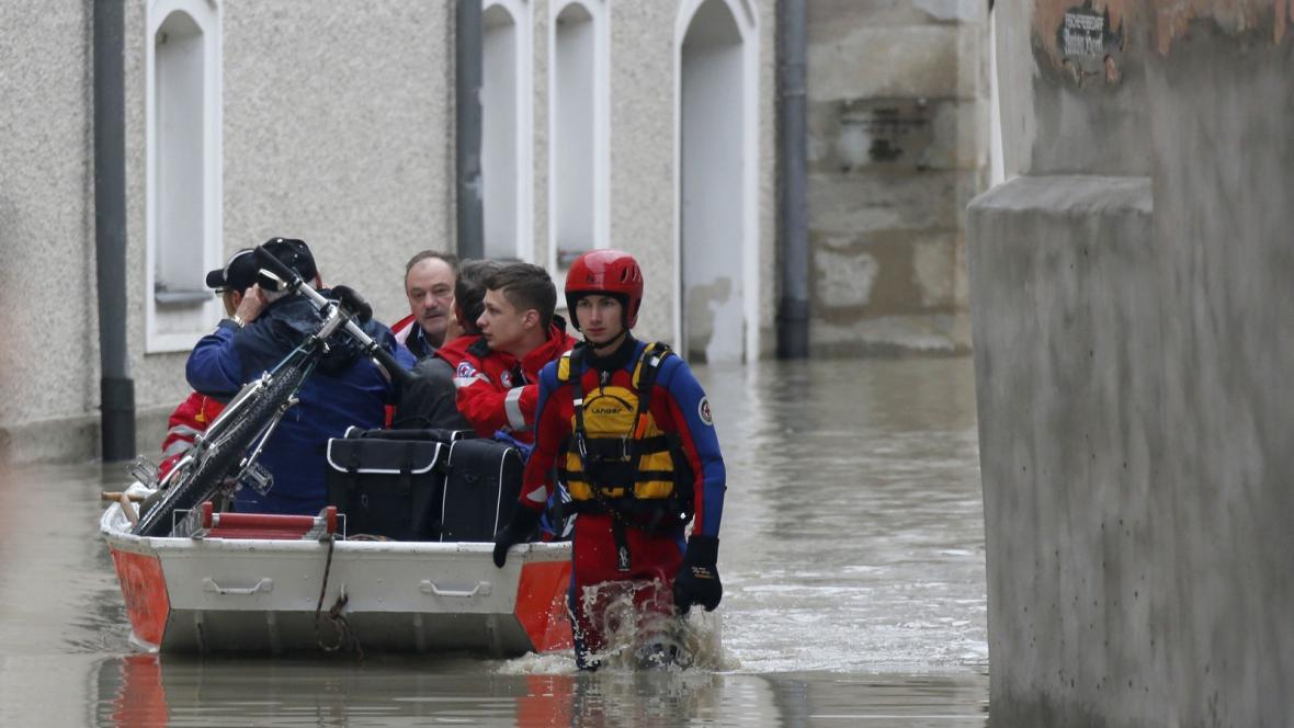 Velká voda v německém Pasově
