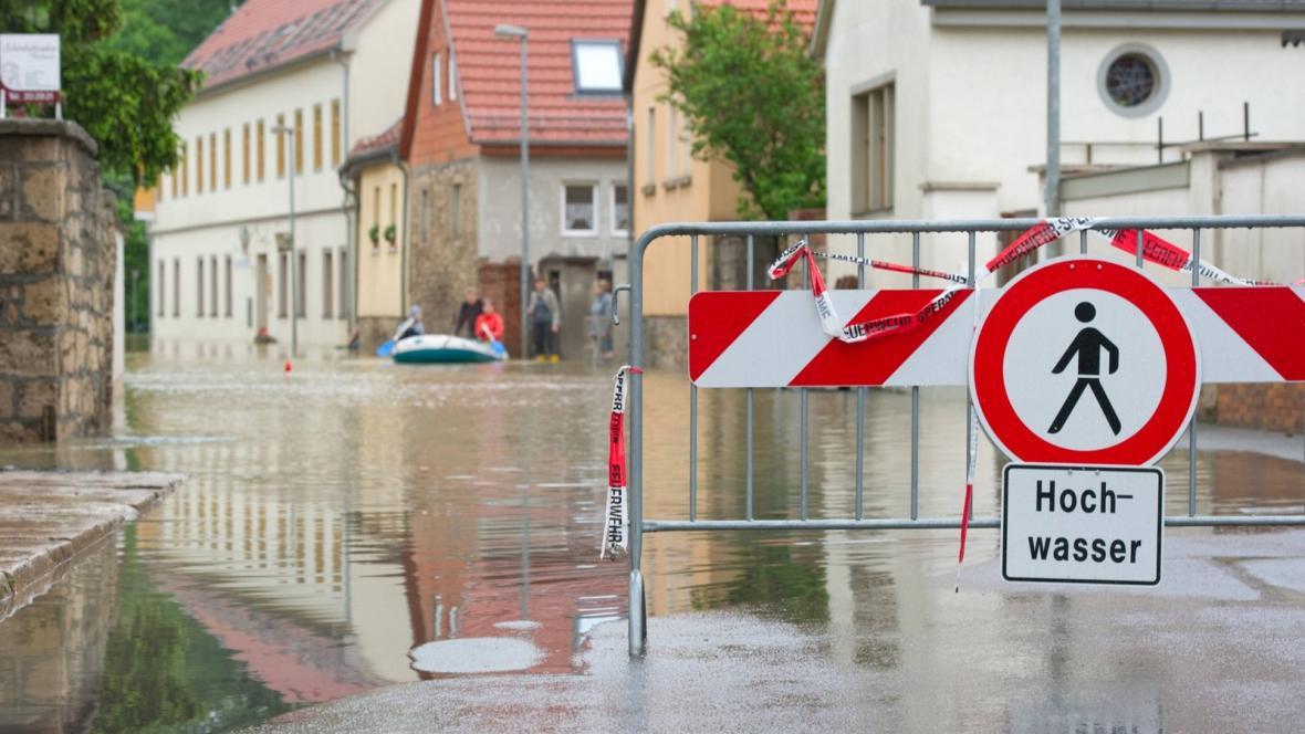 Povodně ve městě Weimar