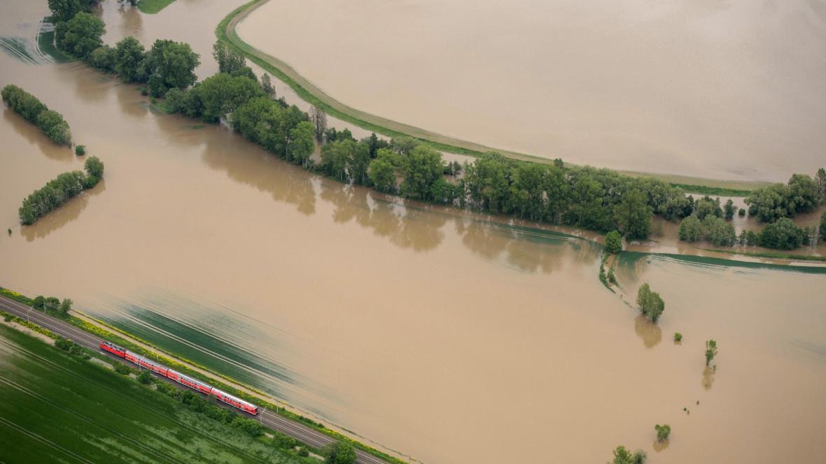 Velká voda blízko německé Jeny