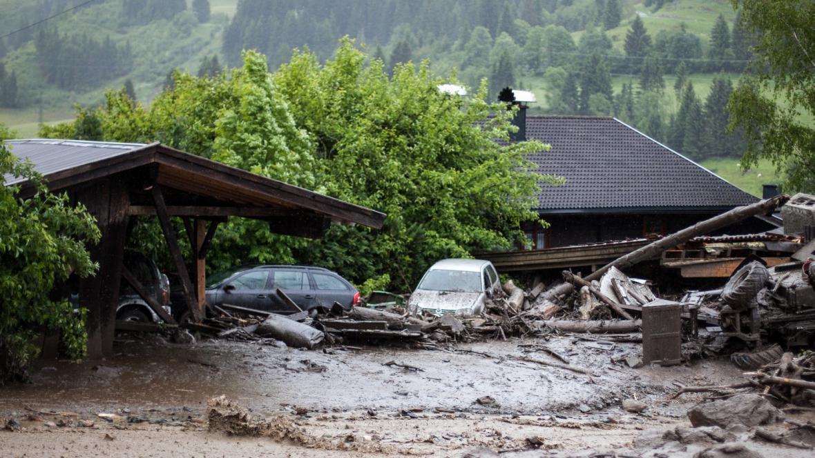 Povodně v Hoegmoosu blízko Salcburku