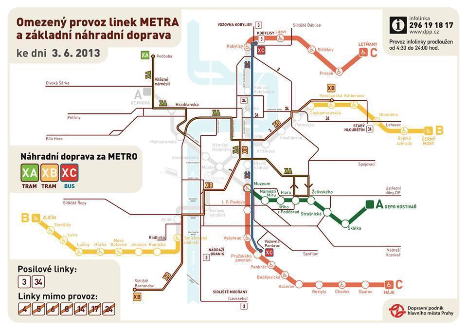 Metro – omezený provoz při povodních