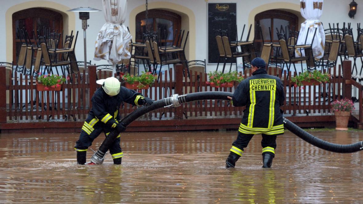 Velká voda v německém Chemnitzu