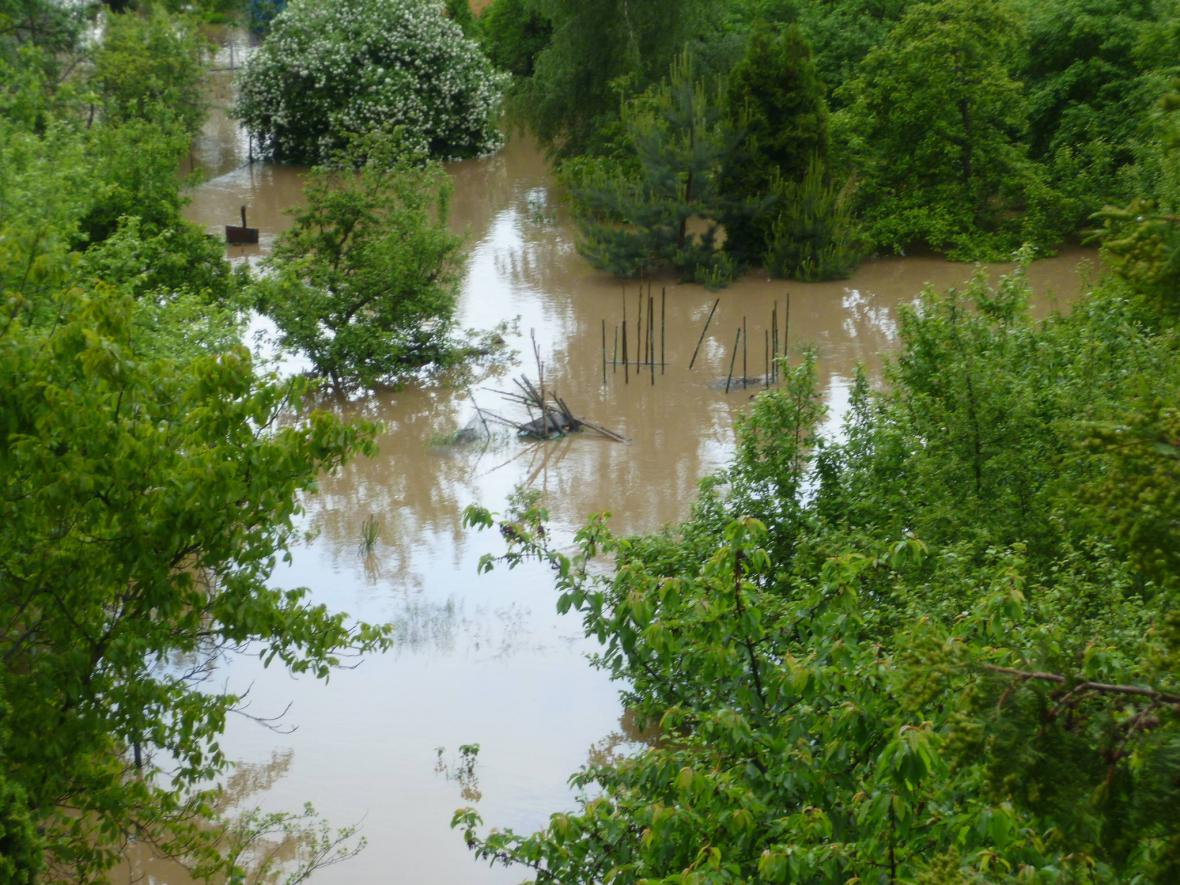 Zaplavená chatová oblast Praha 5 - Lipence