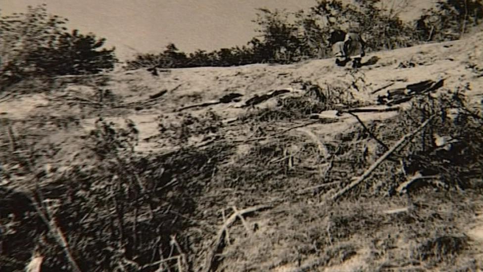 Trosky letadla, které v roce 1962 havarovalo u Újezdu u Brna