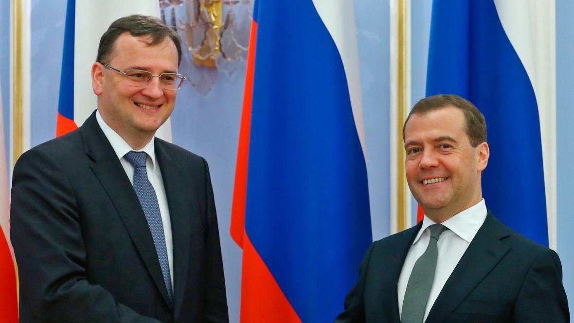 Petr Nečas a Dmitrij Medvěděv