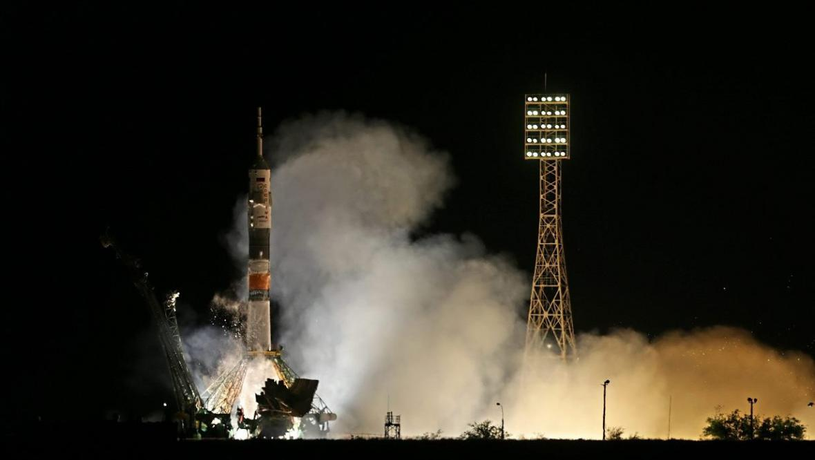 Start Sojuzu z kosmodromu Bajkonur