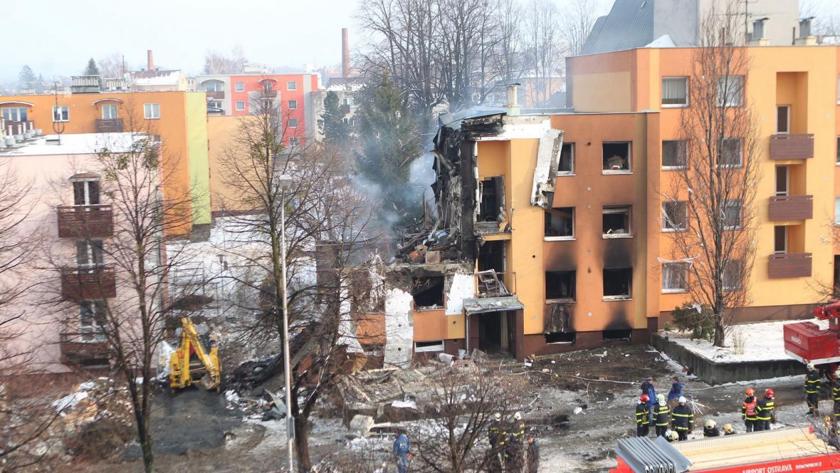 Následky výbuchu plynu ve Frenštátu