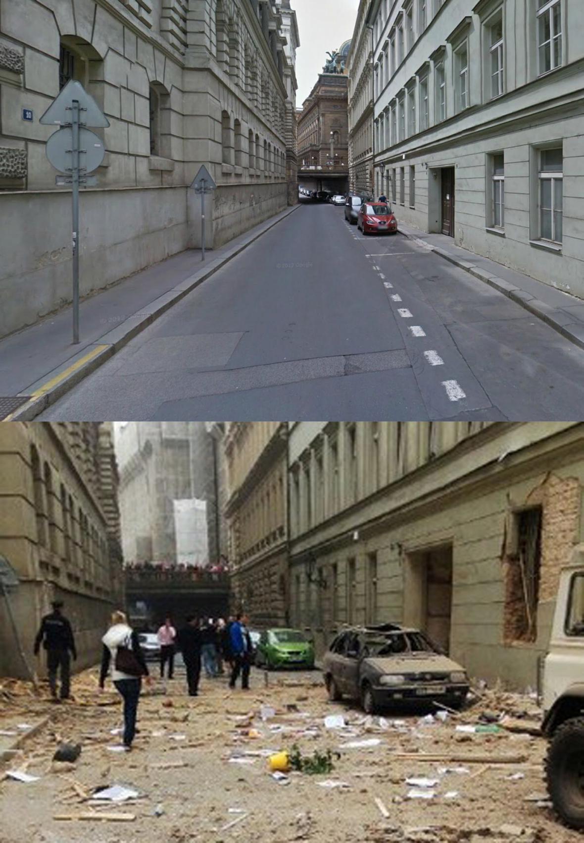 Před a po výbuchu v Divadelní ulici