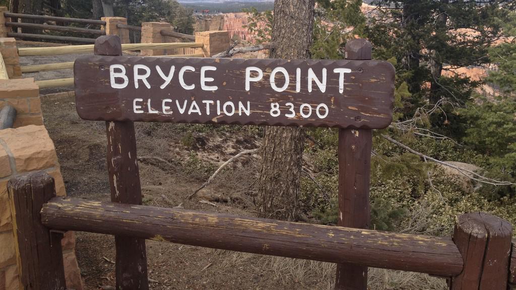 Výškové značení v Bryce Canyonu