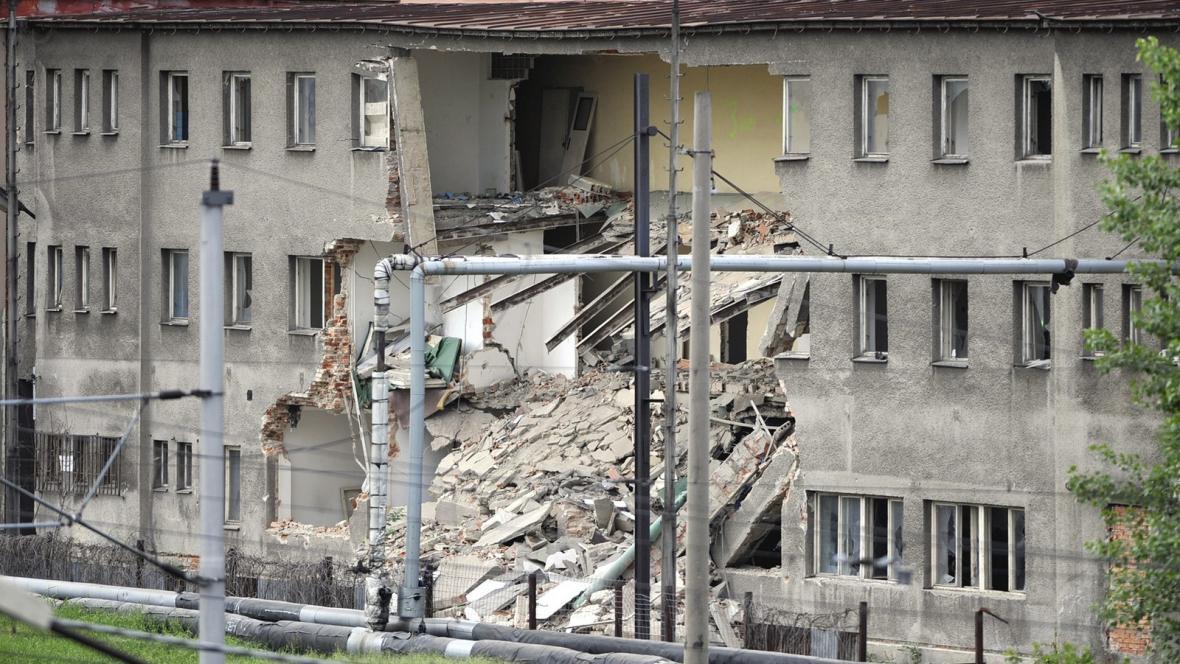 Zřícený dům v ostravské Cihelní ulici