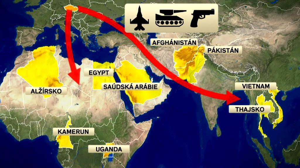 Kam Česko především vyváží zbraně