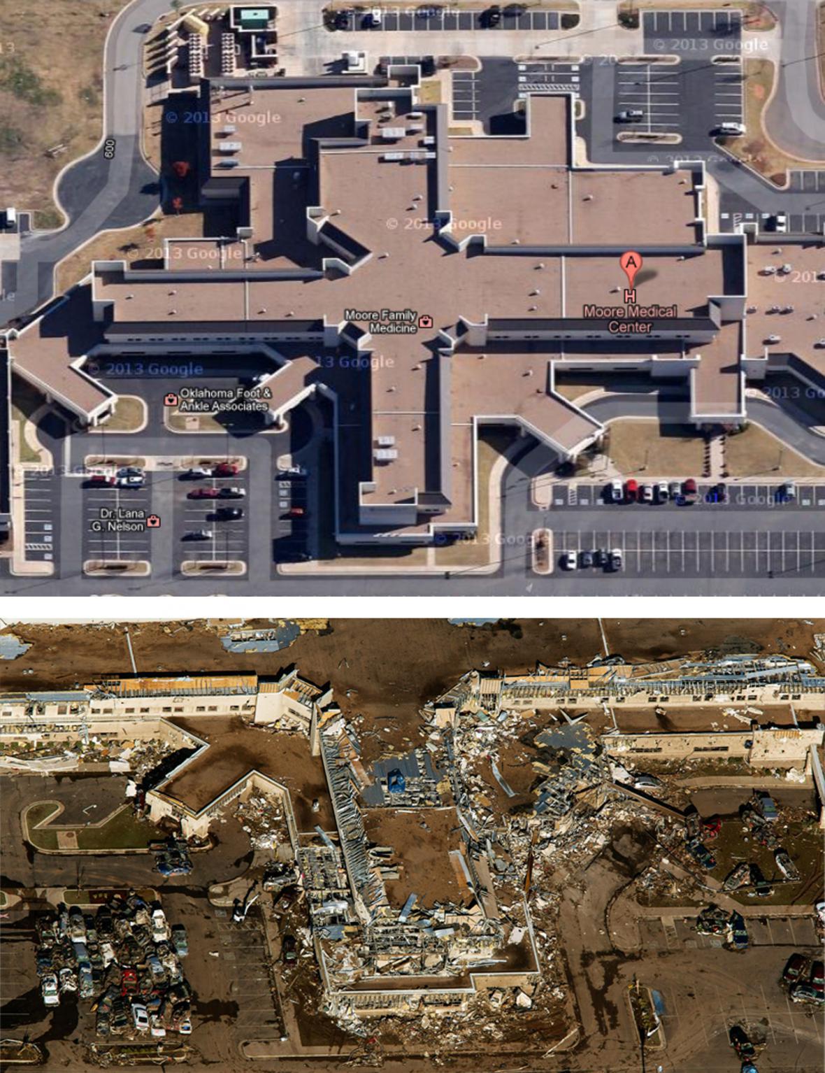 Nemocnice v Moore před tornádem a po něm