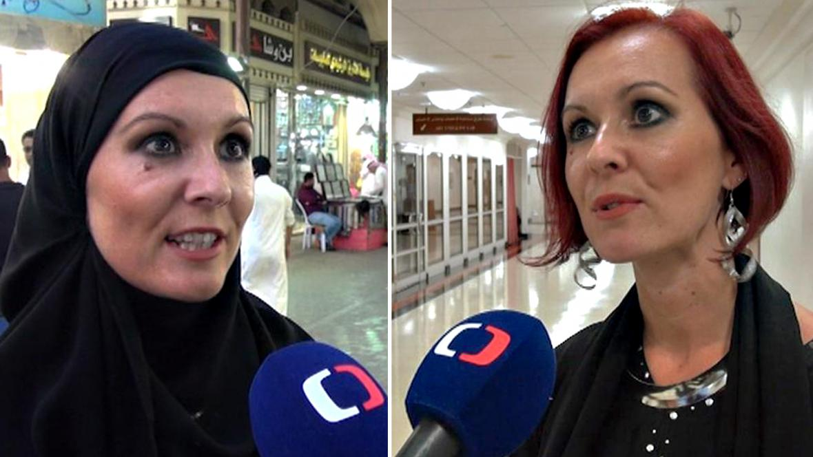 Lucie Karalová s hidžábem a bez něj
