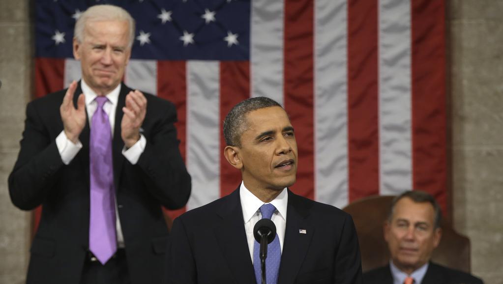 Obama během projevu o stavu unie