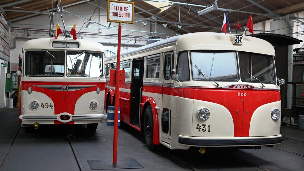 V muzeu odpočívají mj. i trolejbusy Tatra či Škoda, které si odsloužily své roky v 50. až 70. letech