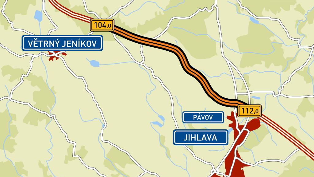 Úsek D1 Větrný Jeníkov - Jihlava