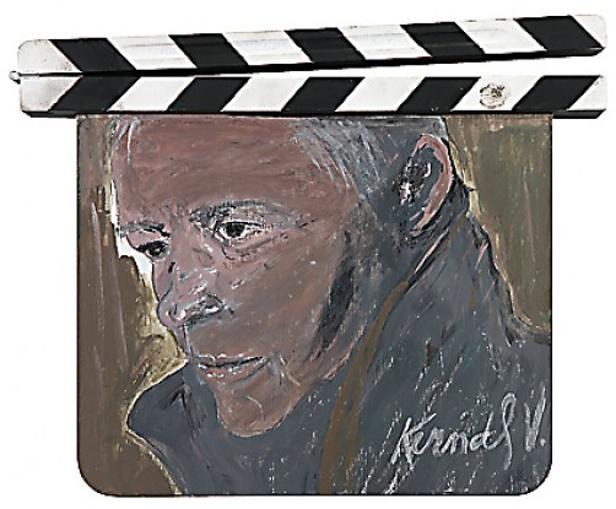 Klapka s autoportrétem Ladislava Kerndla