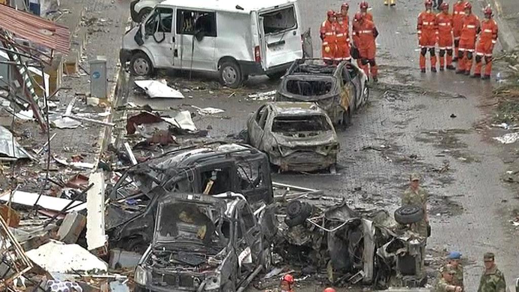 Následky atentátu v tureckém Reyhanli