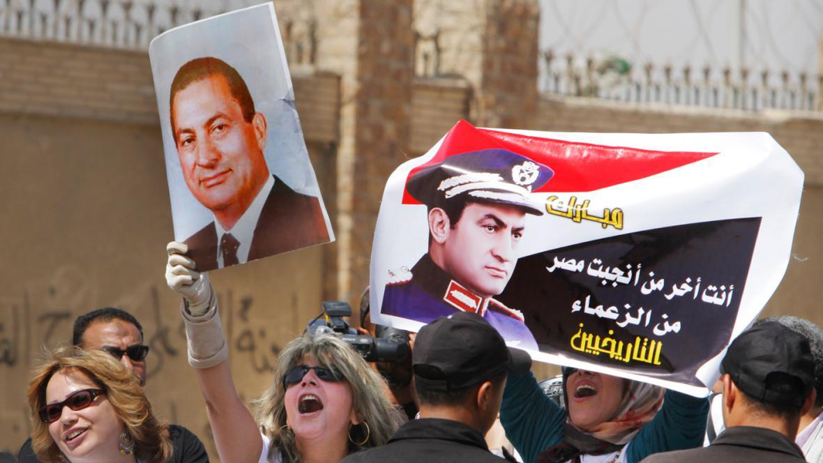 Demonstrace na podporu Husního Mubaraka