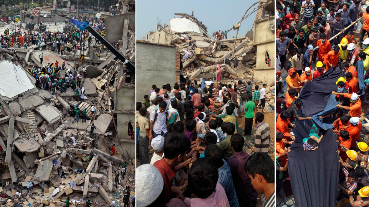 Záchranářské práce po zřícení budovy v Bangladéši