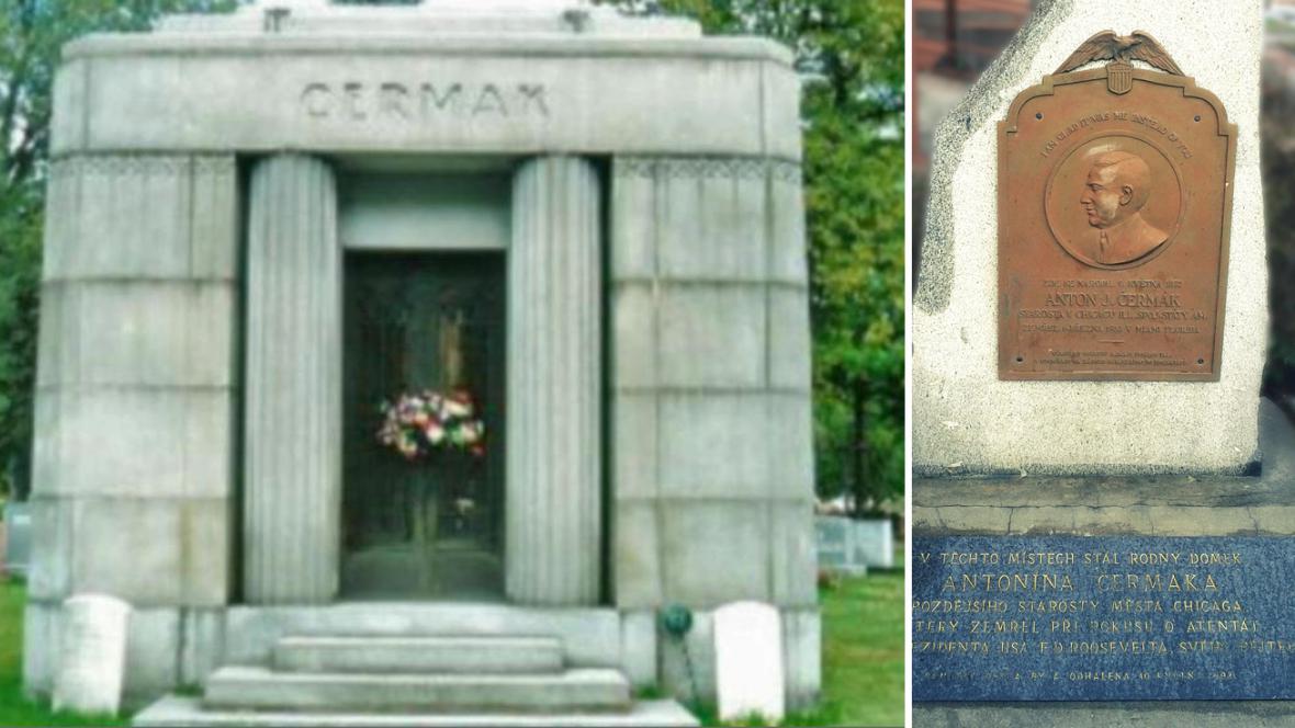 Náhrobek Antonína Čermáka a pamětní deska v Kladně