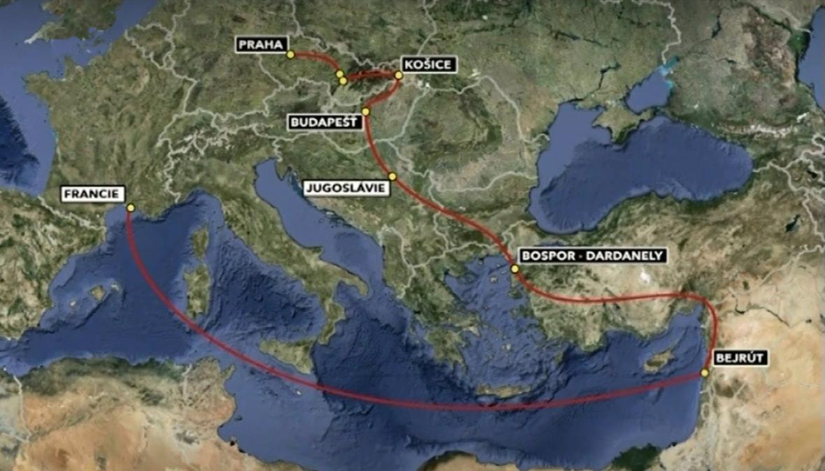 Mapa cesty Horáka a Stříbrného do Francie