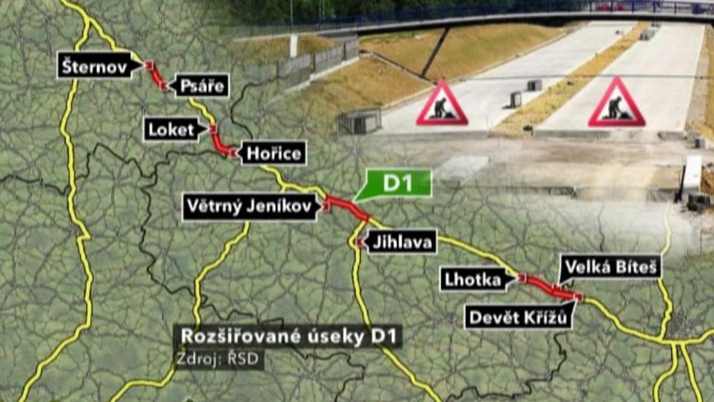 Rozšiřované úseky D1