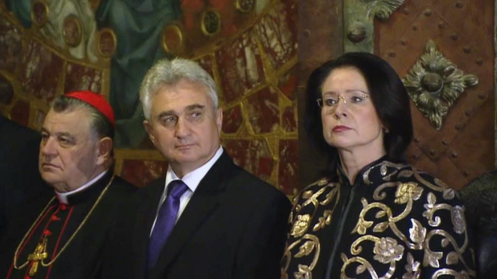 Klíčníci Dominik Duka, Milan Štěch a Miroslava Němcová
