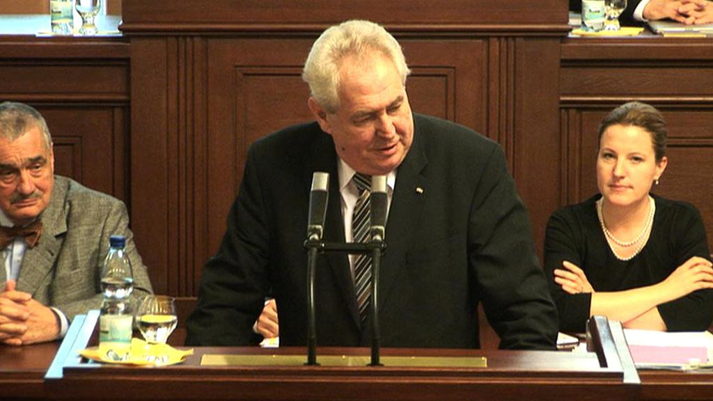 Prezident Miloš Zeman hovoří v parlamentu ČR