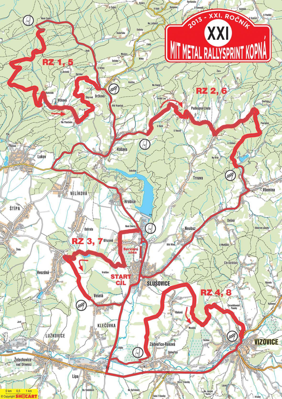 Trasa Rallysprint Kopná v roce 2013