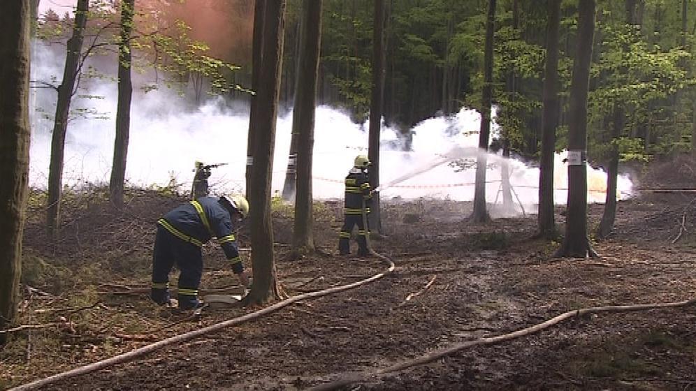 Hasiči trénovali na lesní požár