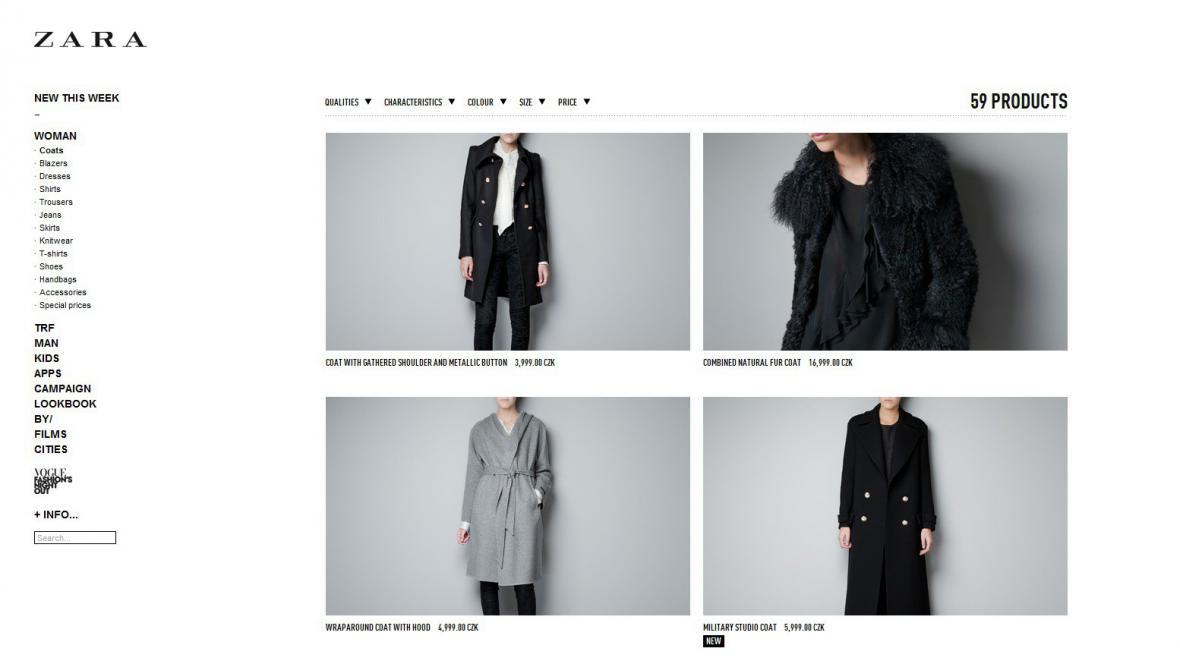 On-line obchod značky Zara