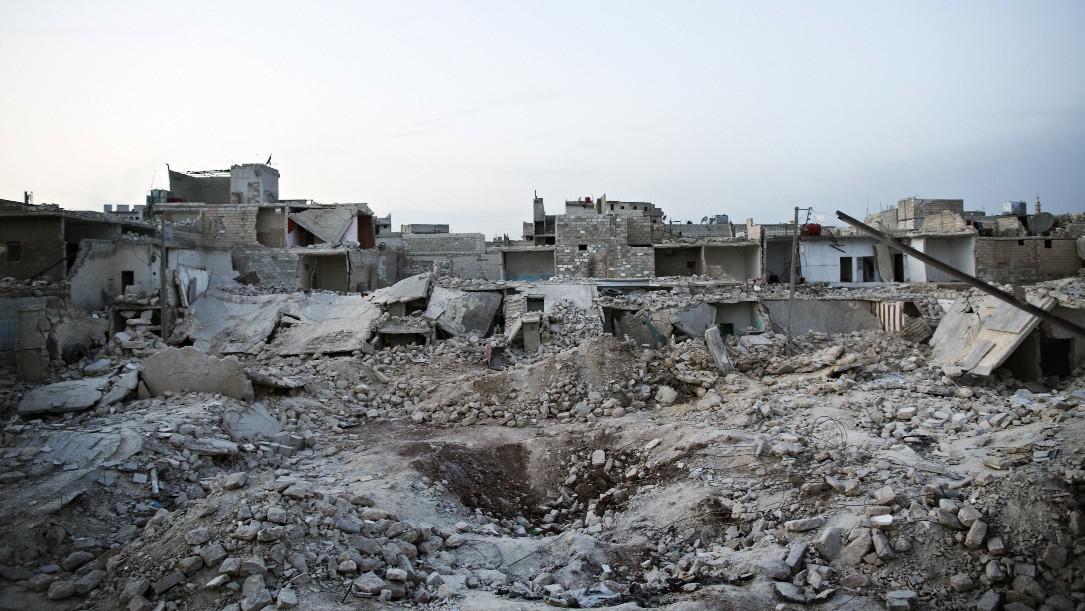 Poničené části města Allepo