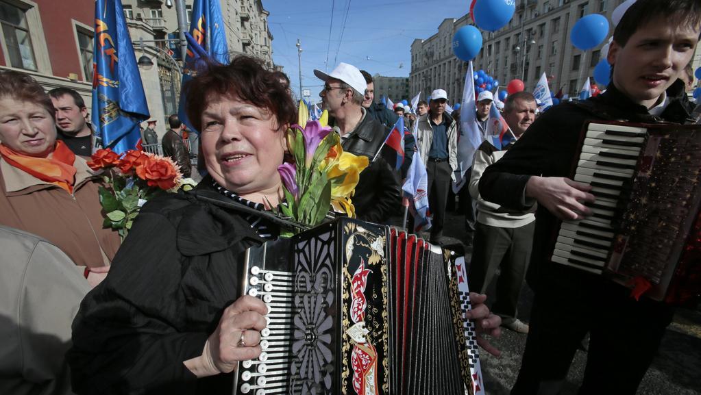 Průvod ulicemi Moskvy