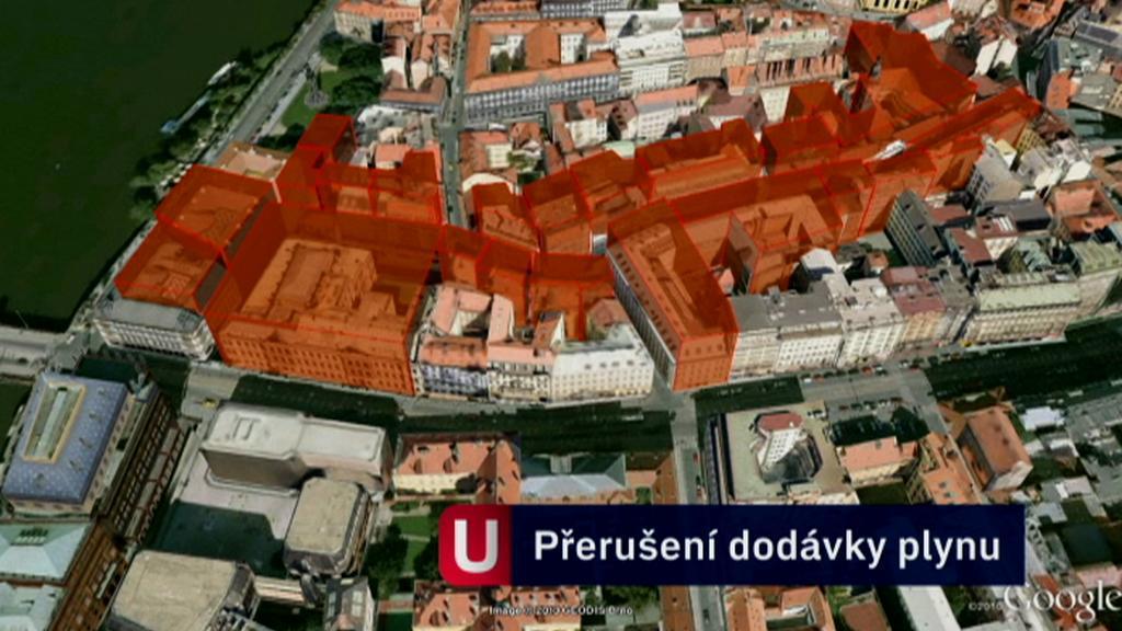 Dodávky plynu jsou přerušeny v červeně vyznačené oblasti
