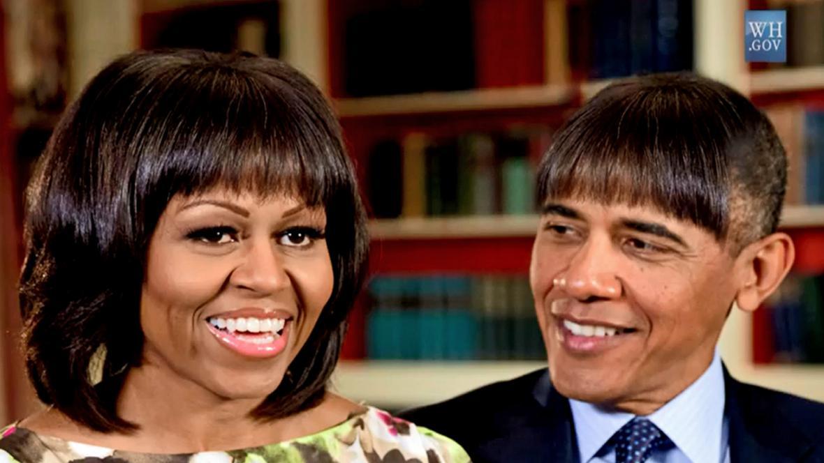 Obama s žertovným účesem ve stylu své manželky Michelle