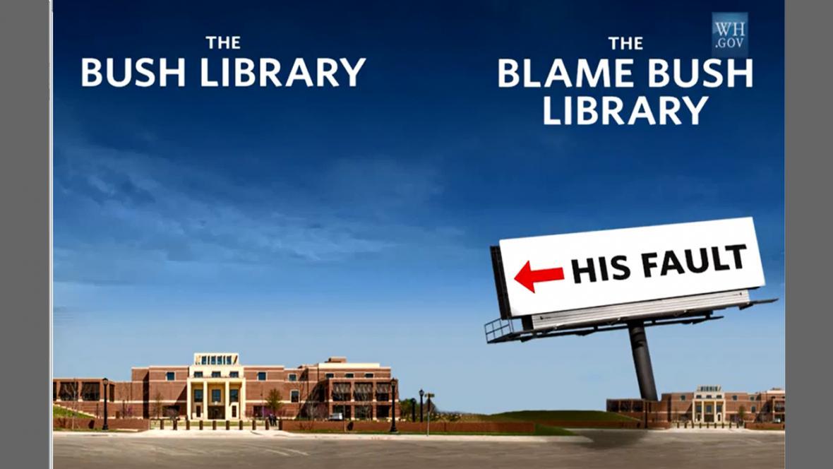 Obama si dělal legraci i z Bushovy prezidentské knihovny