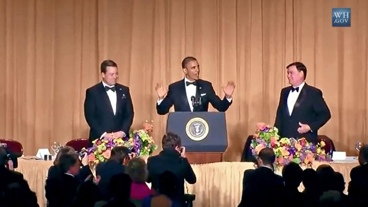 Barack Obama na slavnostní večeři pro washingtonské zpravodaje