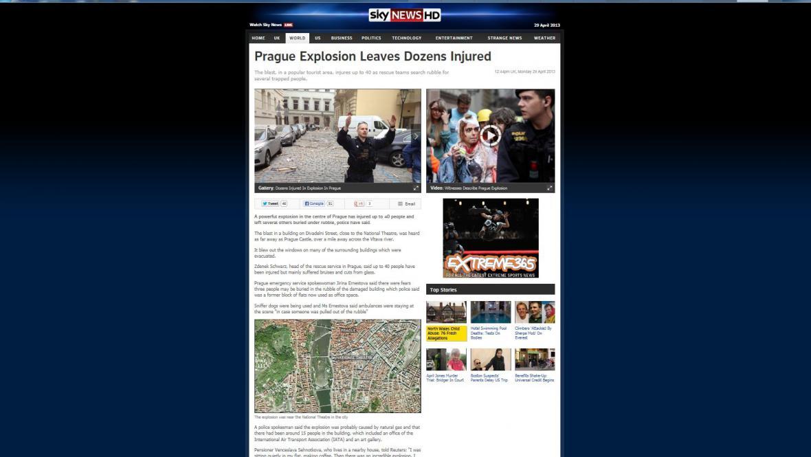 Sky News o pražském výbuchu