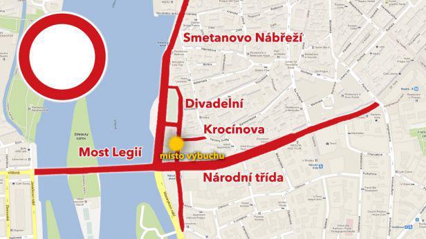 Uzavřené ulice v centru Prahy